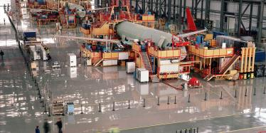 Aircraft assembly line, accumulation of parts from across the world