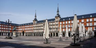 Plaza Mayor of Madrid (Spain), deserted by the coronavirus