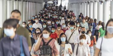 People at rush hour, Bangkok, Thailand, 18 March 2020