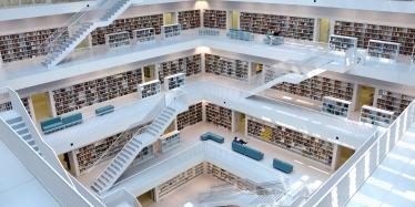 Main hall of new Stuttgart Library, Germany